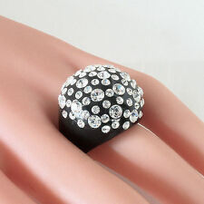 Black Acrylic Domed Ring Made With Clear Swarovski Elements Crystal On Dome 7