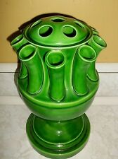 "Vintage Ceramic Flower Frog Vase Marked Italy Italian Pottery Green 12"" tall Urn"