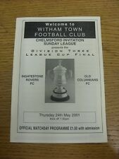 24/05/2001 Chelmsford Invitation League Division 3 Cup Final: Ingatestone Rovers