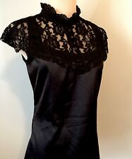 Black Satin Lace Victorian Choker Gothic Blouse Top Morbid Threads M