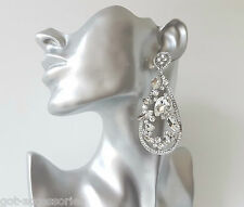 STUNNING sexy Long silver tone & diamante - crystal chandelier drop earrings #26