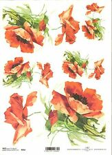 Rice Paper for Decoupage Scrapbooking Poppy Red Flowers A4 ITD R954