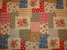 Shabby Patchwork Rose Roses Floral Flower Country Red Pink Gray Linen Blue Chic