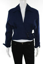 Thierry Mugler Blue Tweed Long Sleeve Belted Front Jacket Size EUR 38