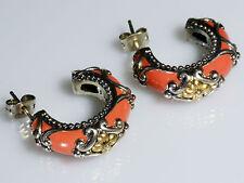 Barbara Bixby Signature Floral Red Enamel Hoop Earrings Sterling Silver 18K