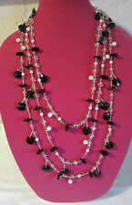 New Directions Multi Level Row Black Pearl Crystal Necklace 30 Inches