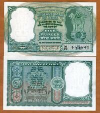 India,  5 Rupees, ND (1962-1967), P-36a, UNC   W/H