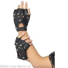 Men Women's 80s Black Punk Gloves w Studs Biker Faux Leather Fancy Dress Rock