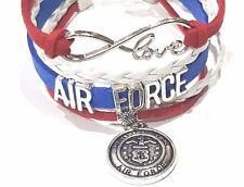 US Air Force Infinity Love Bracelet with Charm Red, White & Blue