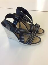 SEXY SARAH SUMMER SHOES - ELASTIC MULTI STRING WEDGES SIZE 36 (UK 3)