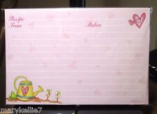 48 4 X 6 PINK RECIPE CARDS WATERING CAN W/HEART, FROG, HEARTS ALL OVER CARDS
