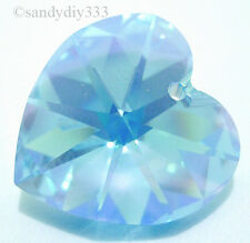 4x SWAROVSKI 6202 AQUAMARINE AB 10mm HEART CRYSTAL Charm