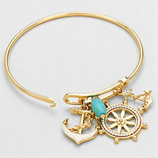 Anchor Bracelet Charm Hinge Bangle GOLD Helm Anchor Pearl Sea Life Beach Jewelry