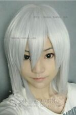 New Short Silver White Cosplay Party Wig  Free Shipping