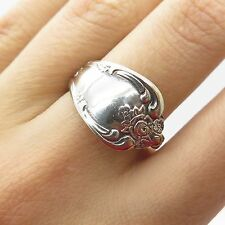 Rogers Oneida 925 Sterling Silver Wide Spiral Adjustable Spoon Ring Size 7