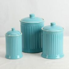 Simsbury Ceramic Canister Set of 3 in Turquoise by Omni Housewares