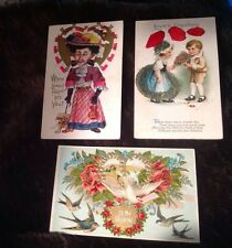 3 Antique Valentines Day PostCards 1912 All Different Birds, Dog, Kids