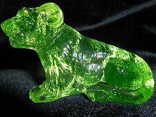 Green Vaseline glass Tommy Tiger lion Cat paperweight uranium yellow Belgian art