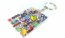 Sticker Bomb Keyring / Key Ring JDM Drift Car Cool Fun Stickerbomb