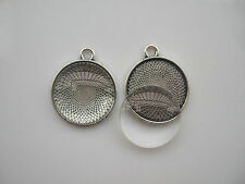 5 Sets Antique Silver 22mm Round Pendant Trays with Matching Glass Dome Inserts