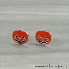 Jack O Lantern Post Earrings - 925 Sterling Silver - Halloween Pumpkin Studs NEW