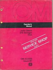 John Deere 370 Swinger Disk DEALER SERVICE SHOP COPY Operators Manual OM-A32066