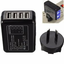 Black AU Wall Charger - 4 USB Port AC Power Travel Home Adapter With AU Plug