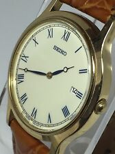 SEIKO MEN'S SLIM DRESS WATCH WITH DATE & LEATHER STRAP 7N39-0BN0 (D45)