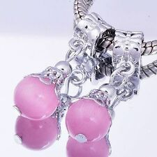 2Pcs White GF/Silver Pink CZ Murano Glass Ball Beads Fit European DIY Chain
