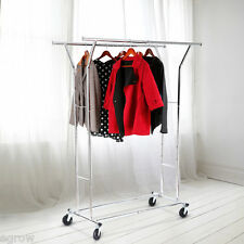 Commercial Grade Collapsible Clothing Rolling Double Garment Rack Hanger Holder