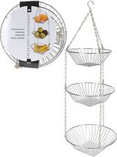 Chrome 3 Tier Hanging Storage Baskets Kitchen Fruit Vegetable Bathroom/Shower