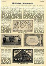 Künstlerische Besuchskarten Dr. Erich Willrich Leipzig Histor.Visitenkarten 1908