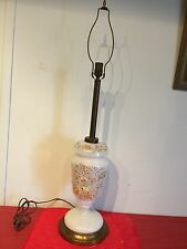 Antique Victorian Tall Hand Paint Colorful  Bristol Glas Table Lamp