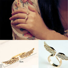 Chic Adjustable Vintage Angel Wing Gold Plated Opened Crystal Ring Love Gift