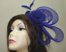 FASCINATOR HAT Ladies ROYAL BLUE Cocktail Dress Hats ONE SIZE Man Made Horsehair