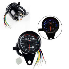 Motorcycle Odometer Speedometer Tachometer Speedo Meter Black LED Backlight