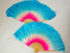 "2 CHINESE 16"" BLUE PINK DANCE HAND FAN WAVY EDGE JAPANESE NEW YEAR PARTY S14"