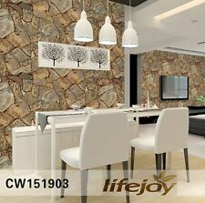 3D Rustic Stone Slate Sand Looking Brown Realistic Impressions Wallpaper 10M