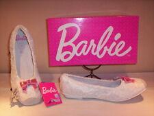 Scarpe ballerine eleganti cerimonia Barbie bimba bambina basse tela bianco 31 34
