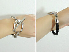 Ralph Lauren RL Horse Bit Buckle PRL Braided Leather Silver Plate Bracelet