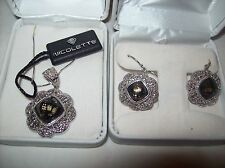 NICOLETTE 24k Gold & Sterling Silver Gemstone Earrings and Necklace Set NWT +BOX