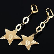 9ct Gold Filled Drop Kiss patterned Star Earrings with Oval Drop Chain E159