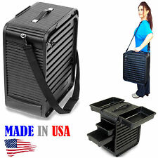 PORTABLE MOBILE HAIR & MAKE UP CARRYING CASE SALON STATION 4 TRAYS MADE IN USA
