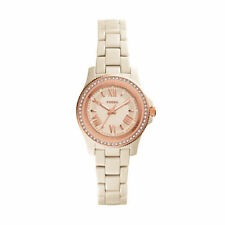 New Fossil CE1090 Cecile Ceramic Toasted Almond Ladies Watch in Box worth $300!