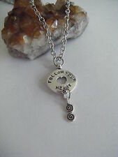Spiritual Inspirational Necklace Follow Your Heart Cosmic Spiral Love Yoga Heal