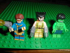 3 LEGO Marvel X-Men Minifigs WOLVERINE & CYCLOPS  THE HULK w/Weapons Minifigures