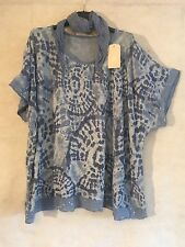 New PLUS Italian Lagenlook Oversized PRINTED SHORT SLEEVES Sequins Top SCARF 62""