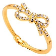 Bow Shape Bracelet Fashion Elegant Yellow Gold Bangle Inlay Crystal Jewelry