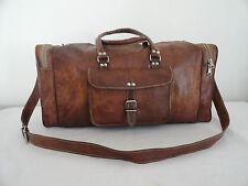 """21"""" Real Brown Leather Duffle Bag HoldAll Bag Sports Gym Bag Handbag Luggage"""