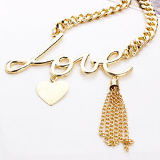 "Girl Women's Lover Word ""LOVE"" Tassel Golden Pendant Choker Chain Necklace"